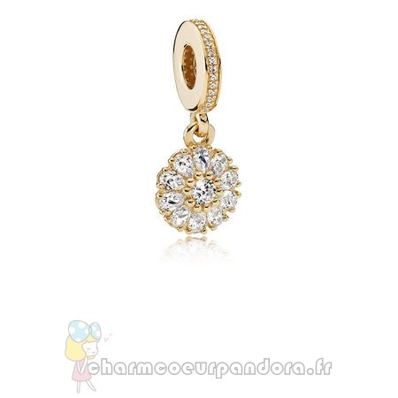 Offres Spéciales Pandora Pandora Collections Agrementee Floral Dangle Charm 14K Or Clear Cz