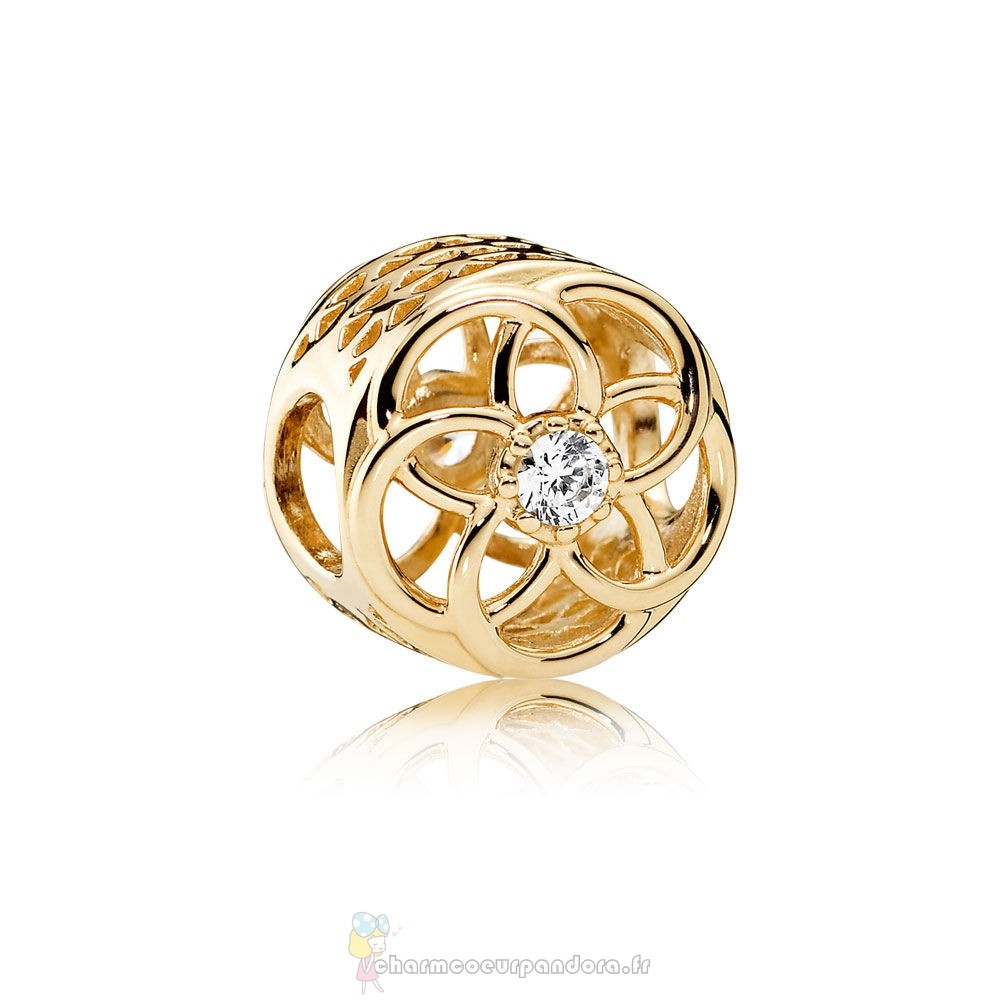 Offres Spéciales Pandora Pandora Charms Charme Charme Bloom 14K Or Clear Cz