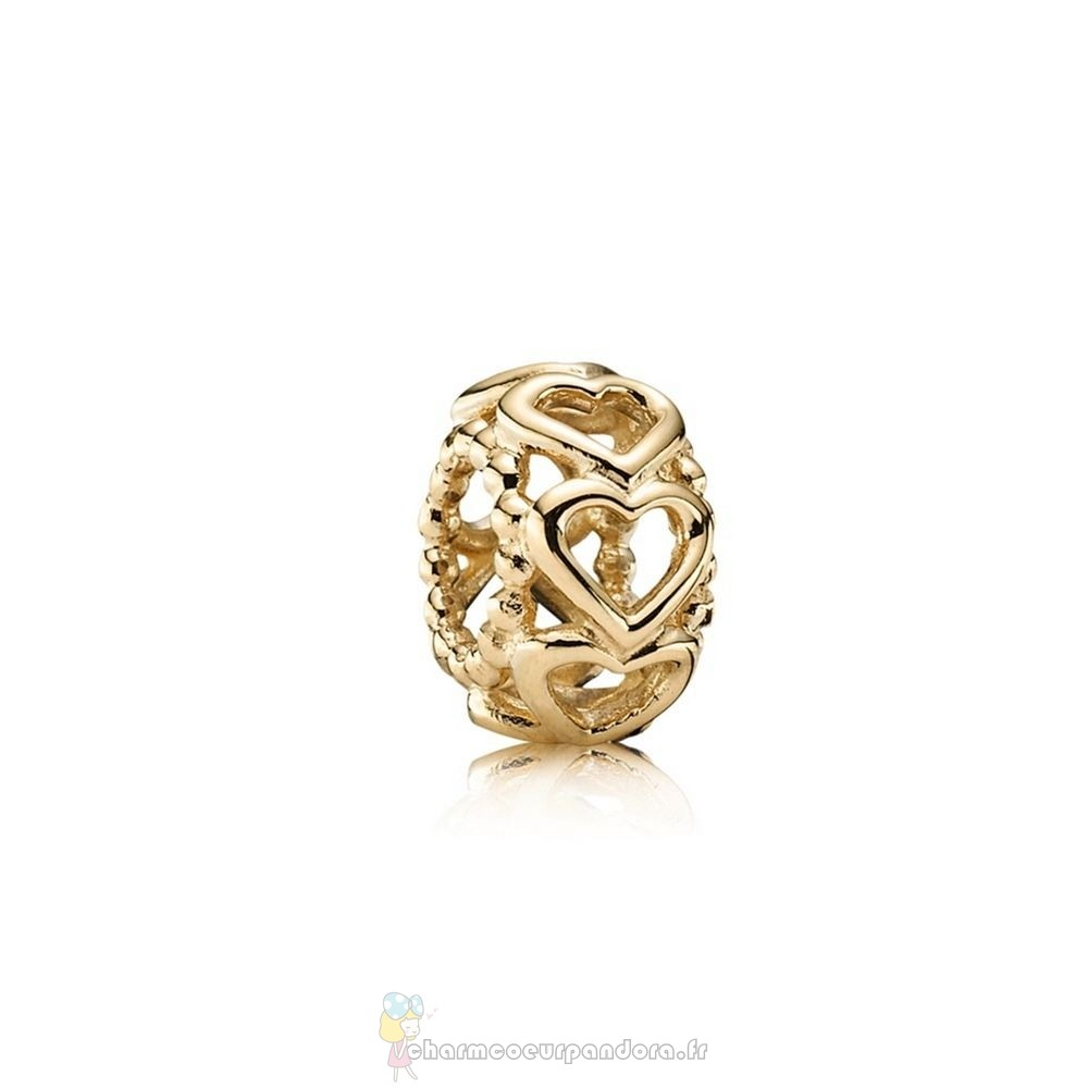 Offres Spéciales Pandora Pandora Entretoises Charms Lucky In Amour Coeur Spacer 14K Or