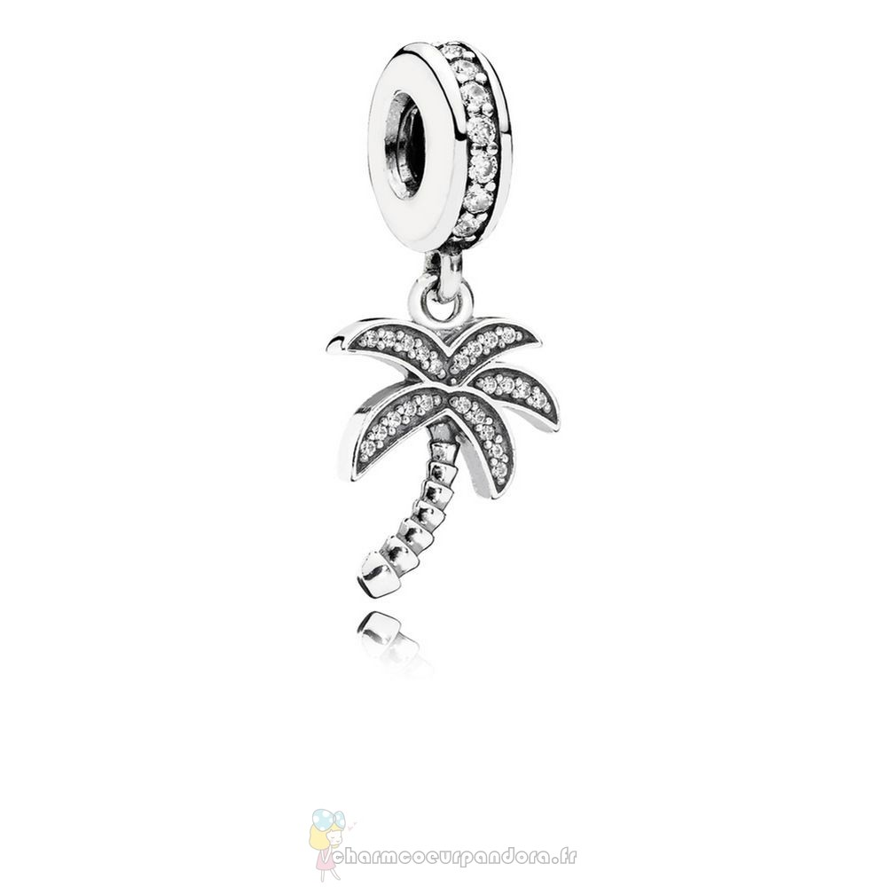 Offres Spéciales Pandora Pandora Nature Charms Charmant Palmier Dangle Charme Clear Cz