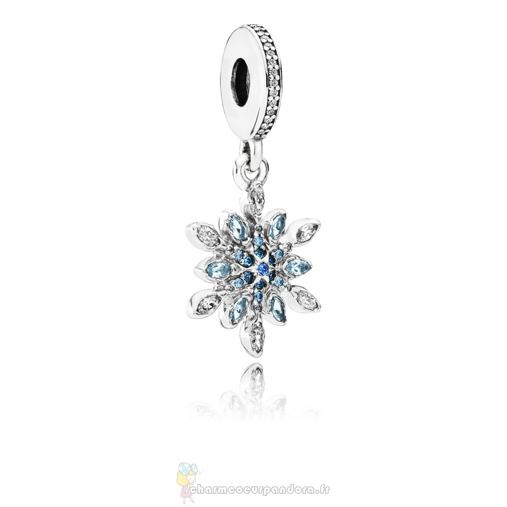 Offres Spéciales Pandora Pandora Nature Charms Crystalized Snowflake Dangle Charm Blue Crystals Clear Cz